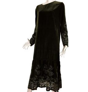 Zara Embroidered Bottle Dark Green Velvet Relaxed Midi Dress S Long Sleeves