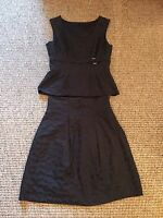 BNWOT Kate Cooper Black Leopard Design Fit And Flare Skirt And Top Size 8 Silky