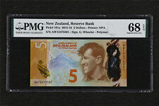 2015-16 New Zealand Reserve Bank 5 Dollars Pick#191a PMG 68 EPQ Superb Gem UNC