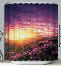 Sunset Scenic Mountain Paradise Fabric Shower Curtain 70x70 Flowers Floral