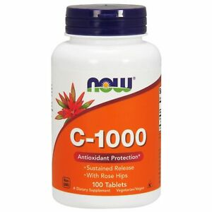 Now Foods VITAMIN C-1000 Sustained Release 100 Tablets ANTIOXIDANT w/ Rose Hips
