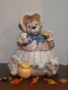 Fitz & Floyd 1991 Mama Bear W/Bonnet Cookie Jar Retired Eating Honey & Berry