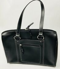 Franklin Covey Genuine Leather Briefcase Carring Case Black Lap Top Organizer