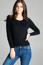 Women's Classic Button Up CREW NECK CARDIGAN Long Sleeve Light Knit Sweater 8383