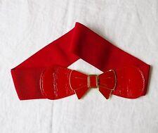 PRETTY RED ELASTIC STRETCH BELT ENAMELLED BOW CLASP S/M GOTH PARTY CLUBBING