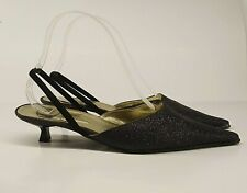 Chio Ladies Shoes UK 4 Charcoal Slingback Pointed Kitten Heel Fine Grain Sparkle