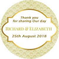24  PERSONALISED GLOSS GOLD WEDDING FAVOUR THANK YOU PARTY BAG BOX STICKERS