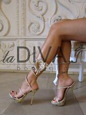LORIBLU ~ Italy Echt PYHTON LEDER Sandaletten Pumps 37 beige %SALE% OVP 439 €