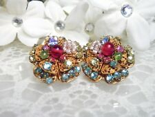 Gorgeous Early Miriam Haskell Rose Montee Floral Post Earrings
