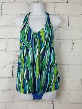 Old Navy Maternity Tankini Swimsuit 2 piece Small halter mold cups wavy line D17