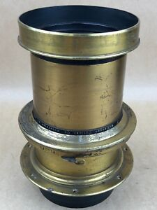 Wollensak Portrait Lens Series A. f-5 8x10 - Vintage Large Brass Lens w/ Shutter