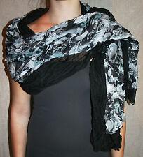 PASHMINA black & grey scarf DOUBLE LAYER shawl REVERSIBLE light COTTON wrap cool