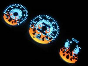Fits 96-00 Honda Civic EX LX SI Manual Stick Shift Flamed White Face Glow Gauges