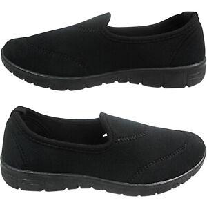 Womens Ladies Low Wedge Slip On MEMORY FOAM Pumps Trainers Shoes Nurse Work Size