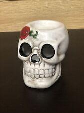 White Sugar Skull Candle Holder Anodized Styled Ceramic Figurine Home Decor