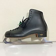 Riedell 280 Black Leather Ice Figure Skates Men's Sz 10.5 Wide Sapphire Blades