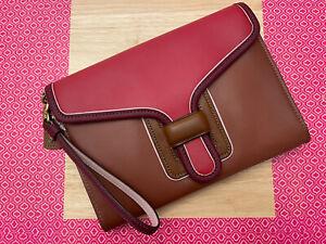 Coach 837 CNT Trim Courier Colorblock Wristlet Clutch Handbag Red Apple Multi