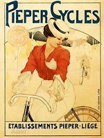 COMMERCIAL ADVERT BICYCLE PIEPER LIEGE BELGIUM VINTAGE POSTER ART PRINT BB1695A