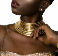 African Jewelry Vintage Necklace Metallic Coil Adjustable Choker Maxi Collar Hot