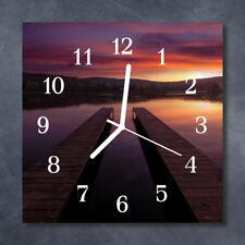 Glass Wall Clock Kitchen Clocks 30x30 cm silent Sunset Multi-Coloured