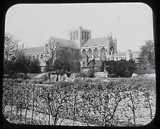 Glass Magic Lantern Slide WINCHESTER CATHEDRAL FROM DEANS GARDEN C1890 VICTORIAN