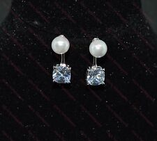 Beautiful Ladies/Girls 925 Sterling Silver Plated Pearl & CZ Stud Drop Earrings