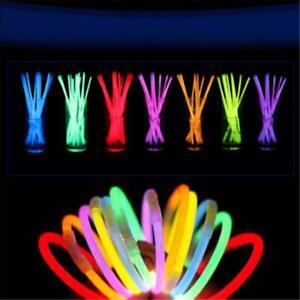 100 pcs 8 inch Glow Light Sticks Bracelet Necklace Light Colorful Neon Party