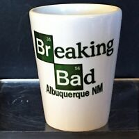 Shot Glasses 1.5 oz, Breaking Bad Green Logo on white ceramic shot glass