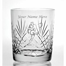 Personalised Engraved Cut Crystal 11oz Whisky Glass With Rugby Design