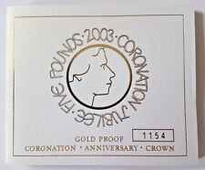 2003 5 Sterline in oro proof Cinque sterline INCORONAZIONE GIUBILEO COA solo