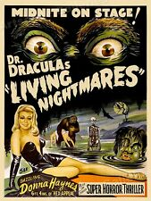 1950s Dr Draculas Living Nightmares Classic Science Fiction Movie Poster - 18x24