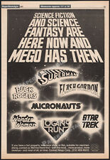 MEGO ACTION FIGURES__Orig. 1977 Trade AD/ poster__Superman_Micronauts_Star Trek