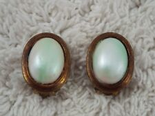 Mixed Metal Copper Brass Green White Cabochon Clip-on Earrings (C33)