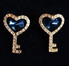 USA EARRING Rhinestone Crystal GEMSTONE Stud Cute Fashion Heart Key