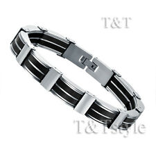 T&T Stainless Steel Link Bracelet Silver/Black (BBR175)