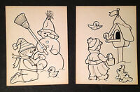 (2) Vintage Christmas Art D. Carothers Newspaper Drawing Published Xmas! C.1960