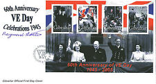 GIBRALTAR 2005 VE DAY M/SHEET HAND SIGNED BY RAYMOND BAXTER FIRST DAY COVER SHS