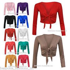 Women's Plus Size Long Sleeve Tie Front Ladies Bolero Shrug Cardigan Top 16-22