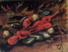 Naturaleza Muerta Con mejillones y camarones 1886 A3 Caja De Lona
