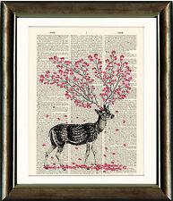 PAGINA LIBRO D'ANTIQUARIATO Art Print-Cervi con Fiori COPERTA DIZIONARIO Wall Art