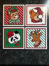 """Giftco Ceramic Christmas Tiles 4""""x4"""" Set Of Four Panda Cat Bear Reindeer 1986"""