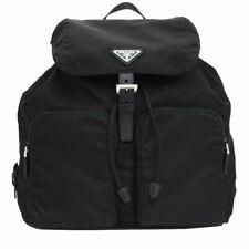 285c19d7f29f PRADA Zainetto Unisex Black Tessuto Nylon Backpack Rucksack Leather Trim  1bz005
