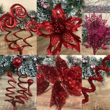 Christmas Artificial Flowers Red Pink Sequins Poinsettia Flower Wreath Decor