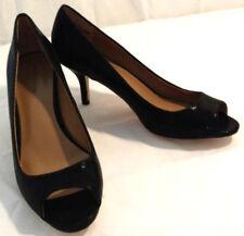 Ann Taylor High Heels Pumps Shoes Womens Sz 7.5 Open Toe Black Lizard Print