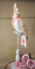 Schöner Kakadu Papagei Rosé auf Sockel Figur Dekoration Höhe 41cm NEU