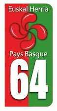 "Logo De Plaque Immatriculation Pays Basque 64 "" FABRICATION FRANCAISE """