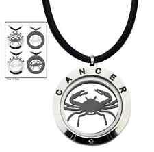 Inox Jewelry Men'S Stainless Steel 4-Way Black Ip & Steel Cancer Zodiac Pendant