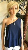 HALSTON New S Midnight Blue One-Shoulder Sleeveless Blouse Tank Top Navy $59 NWT