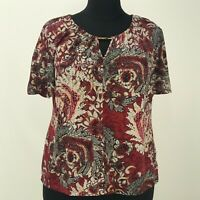 Womens Worthington Woman Red Floral Top Plus Size 1X Short Sleeve Blouse V Neck