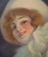 Pastel Art Nouveau par René Péan.Tableau de Colombine aux vêtements immaculés.